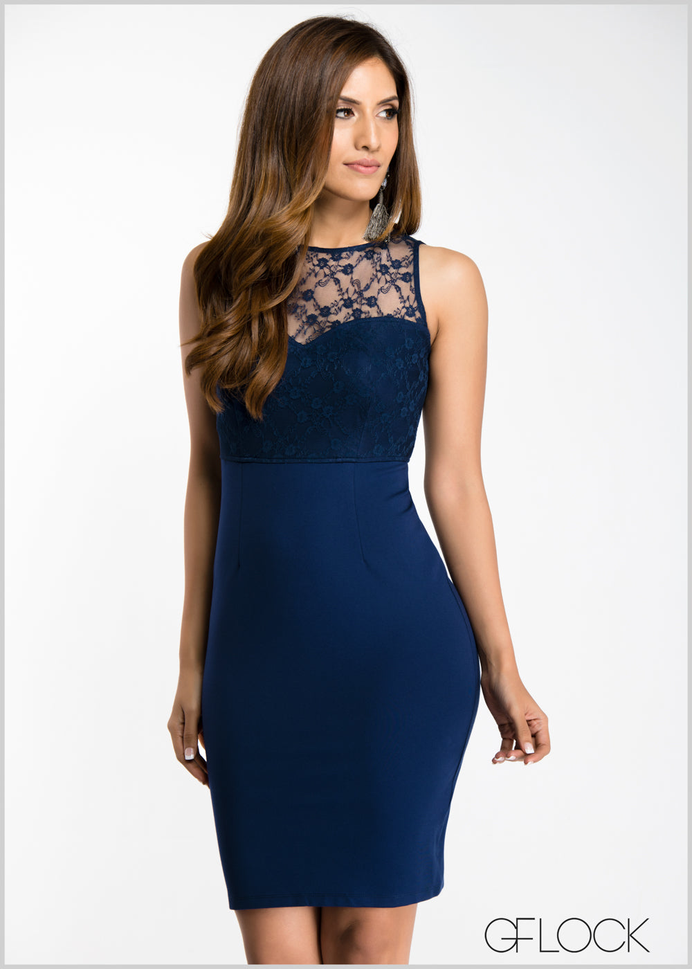 Sleeveless Lace Insert Body-Con Dress