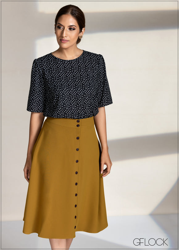 Buttoned Down Flair Skirt
