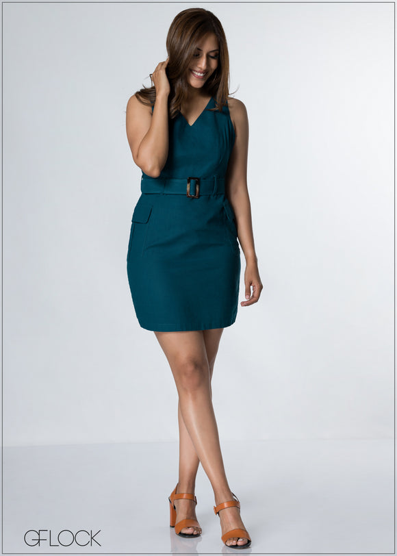 Waist Belted V Neck Dress - GFLOCK.LK