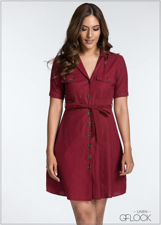 Shirt Dress With Font Tie