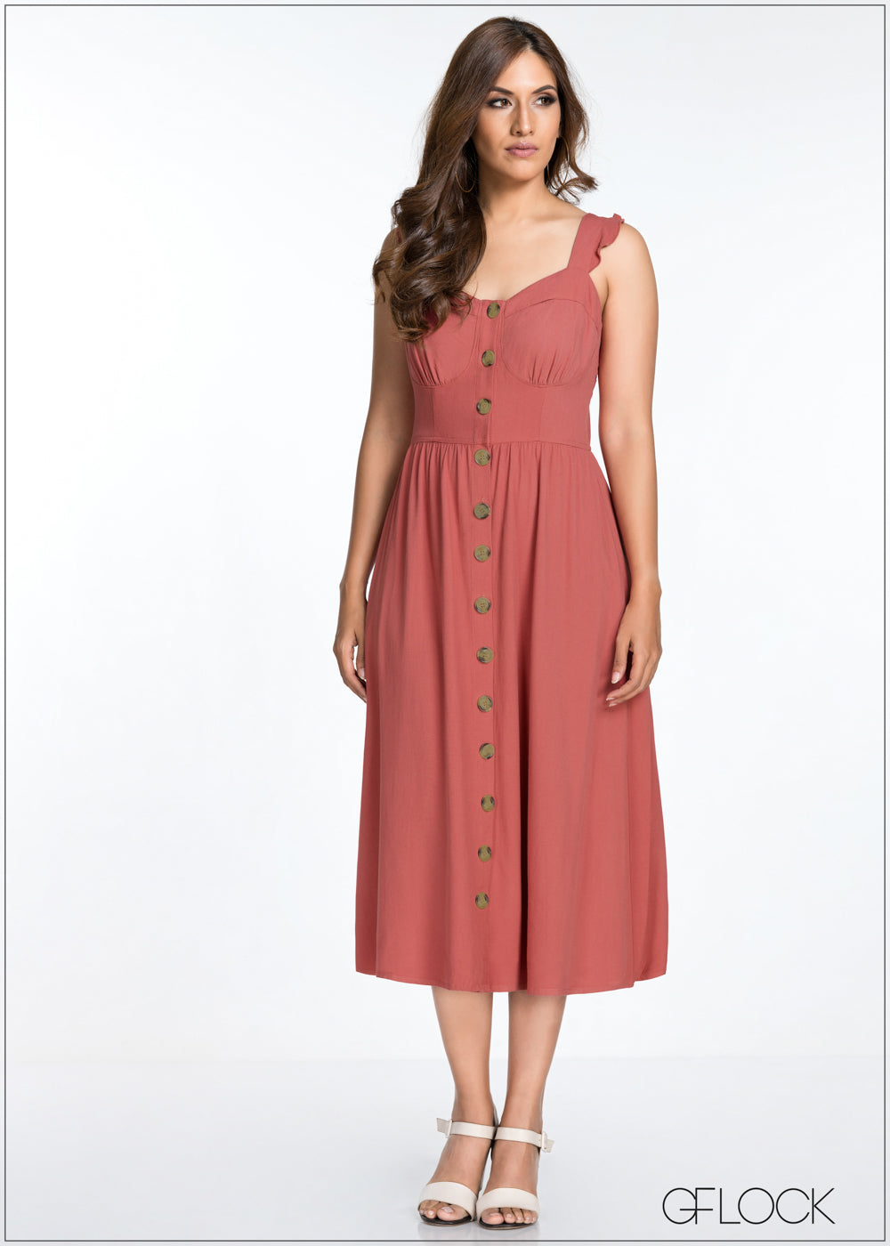 Front Button Detail Midi Dress - GFLOCK.LK