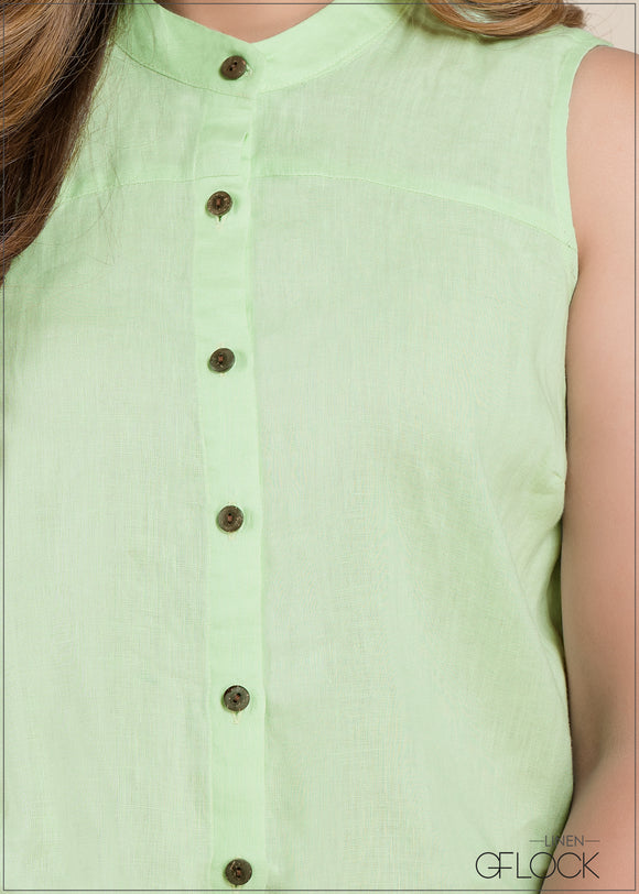 Chinese Collar Linen Top