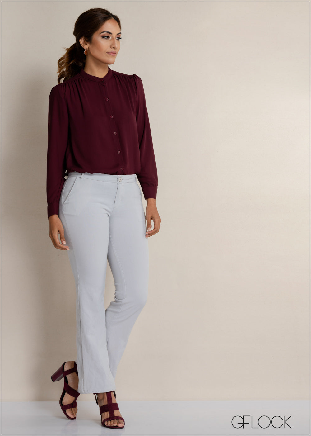 Buttoned Long Sleeve Top
