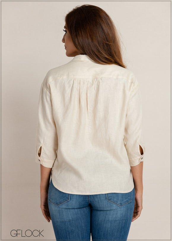 Double Pocket Detailed Linen Top
