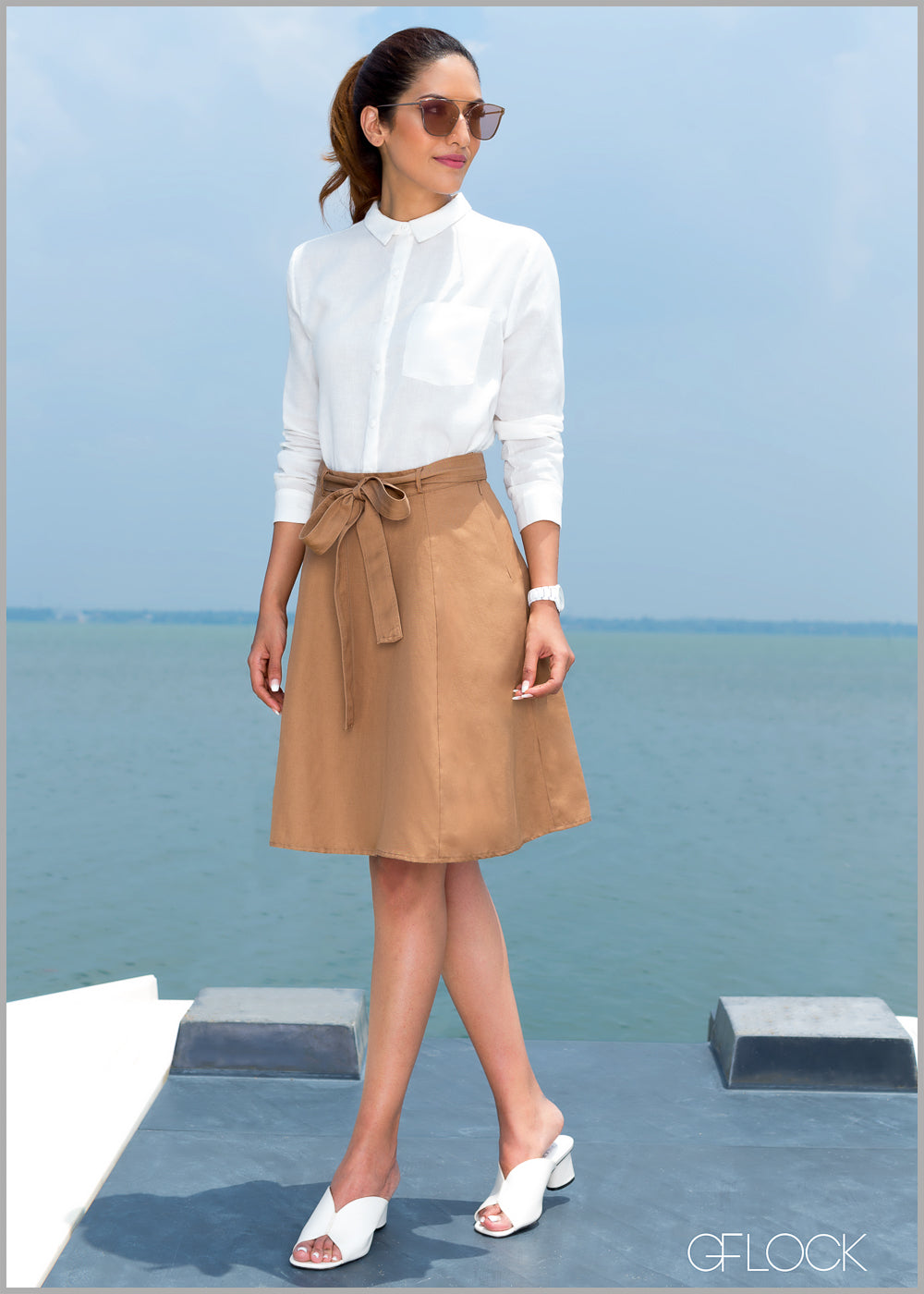 Linen Detailed Waist Band Skirt - GFLOCK.LK