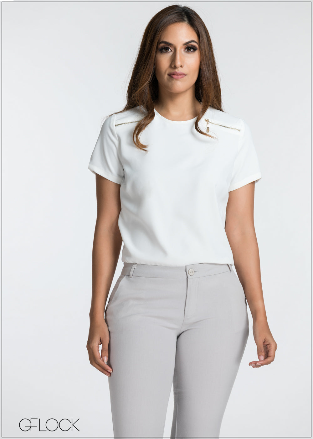 Zip Detailed Workwear Top