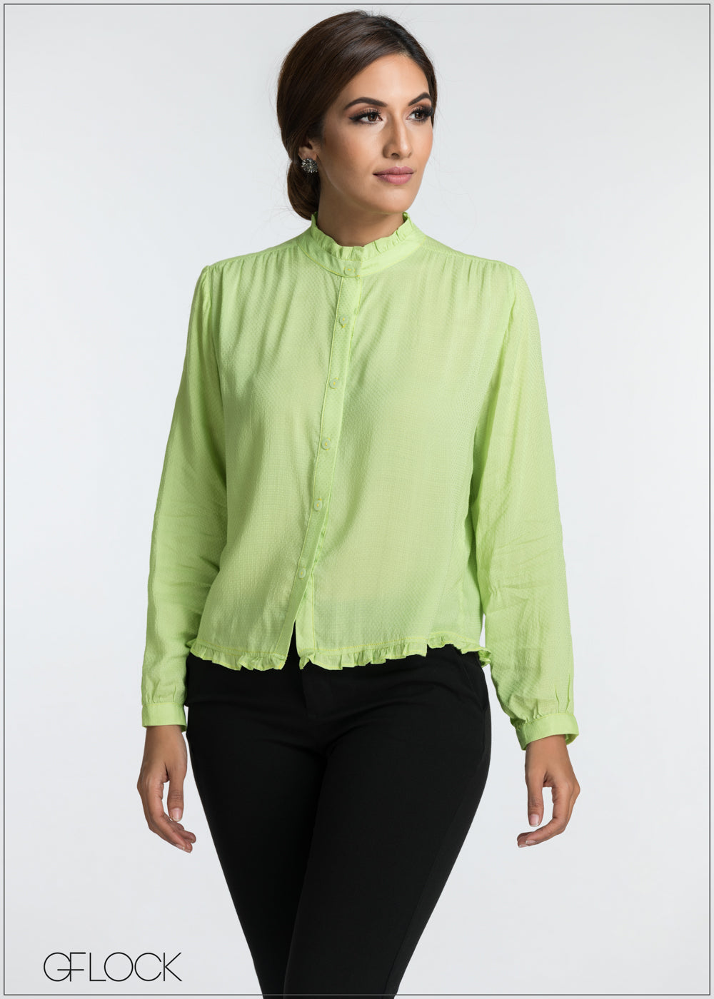 Front Button Detailed Workwear Top - GFLOCK.LK