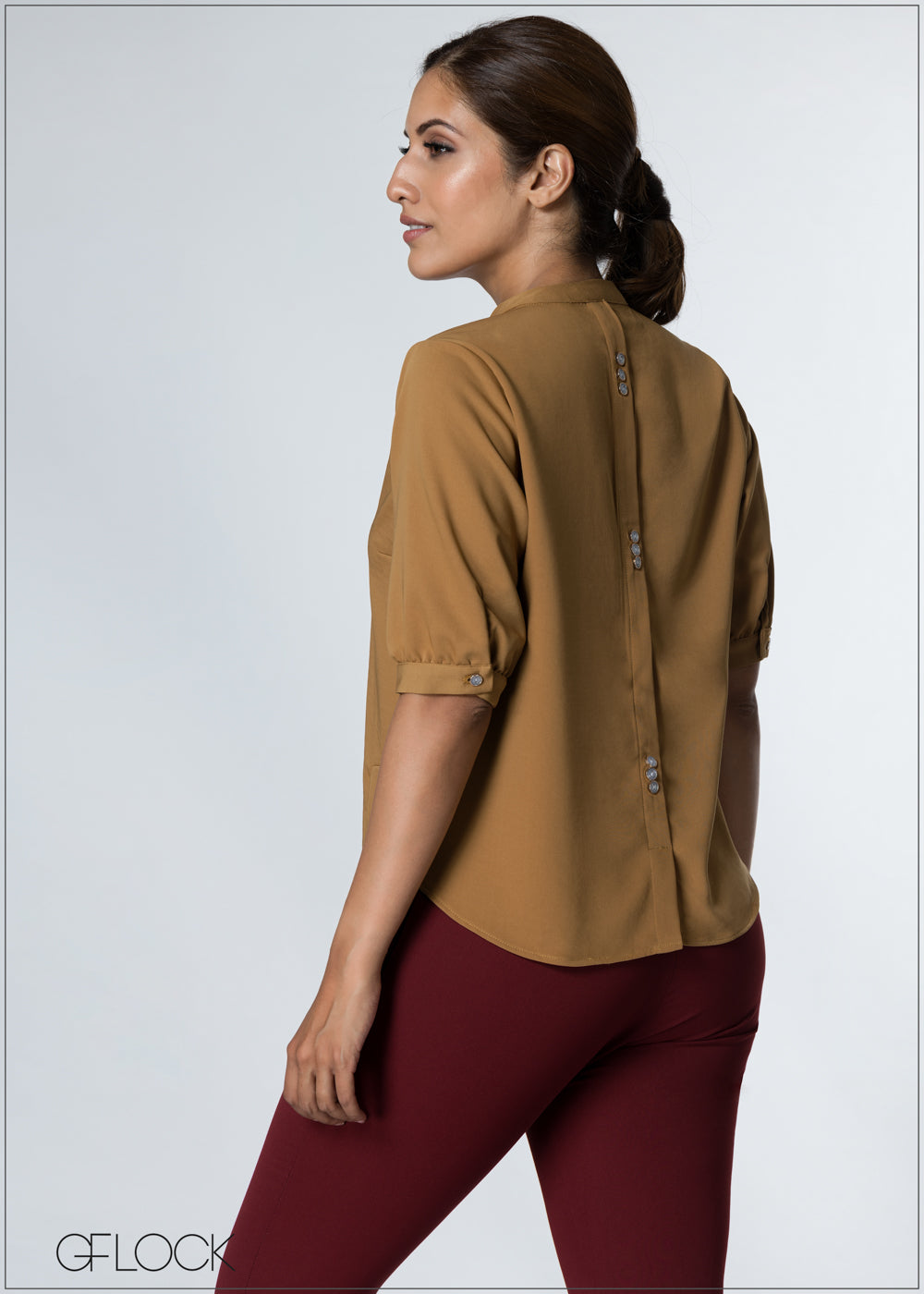 Back Buttoned Detailed Top