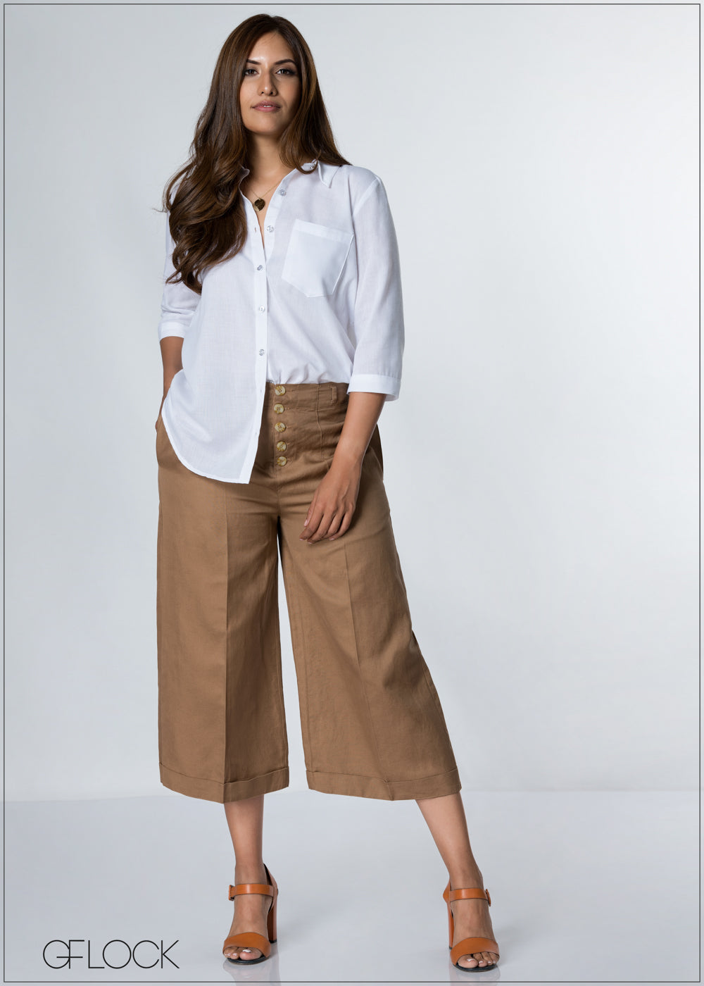 Buttoned Up Flair Linen Pant - GFLOCK.LK