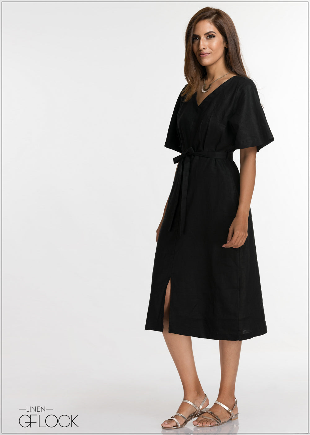 Frill Sleeve Linen Dress