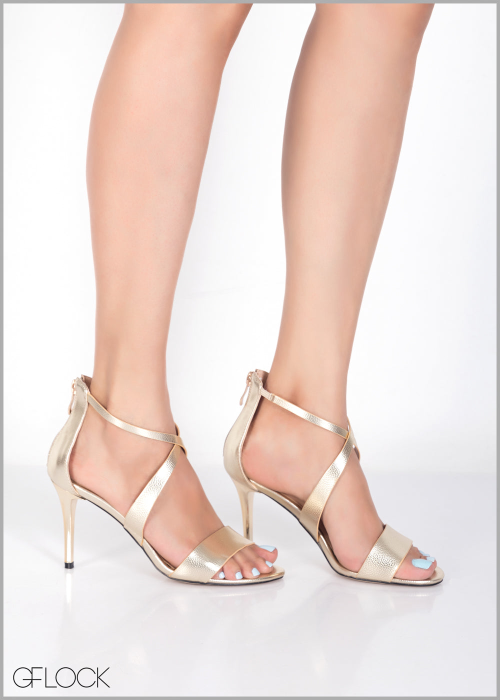 Cross Gold Strap Heel