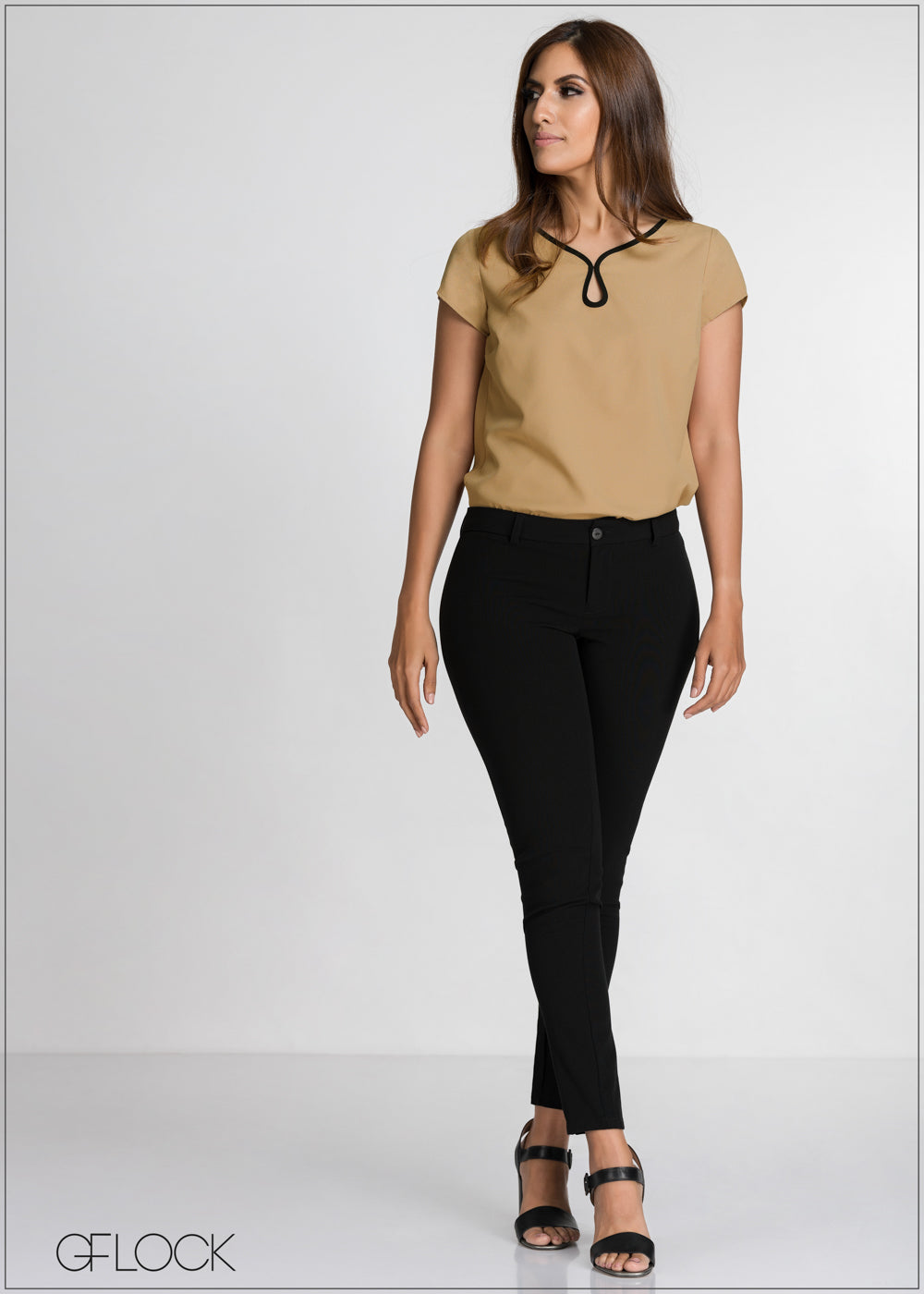 Contrast Neck Detailed Top