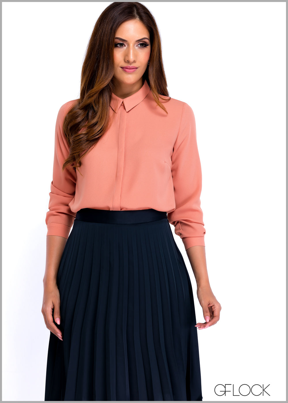 Collared Long Sleeve Work Wear Top