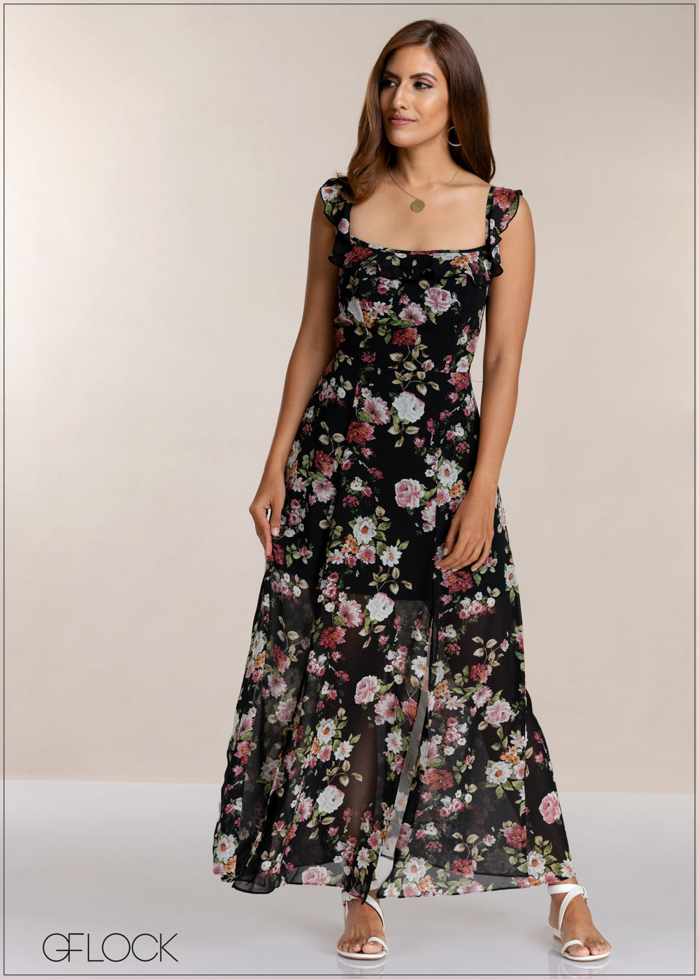 Frill Printed Maxi Dress
