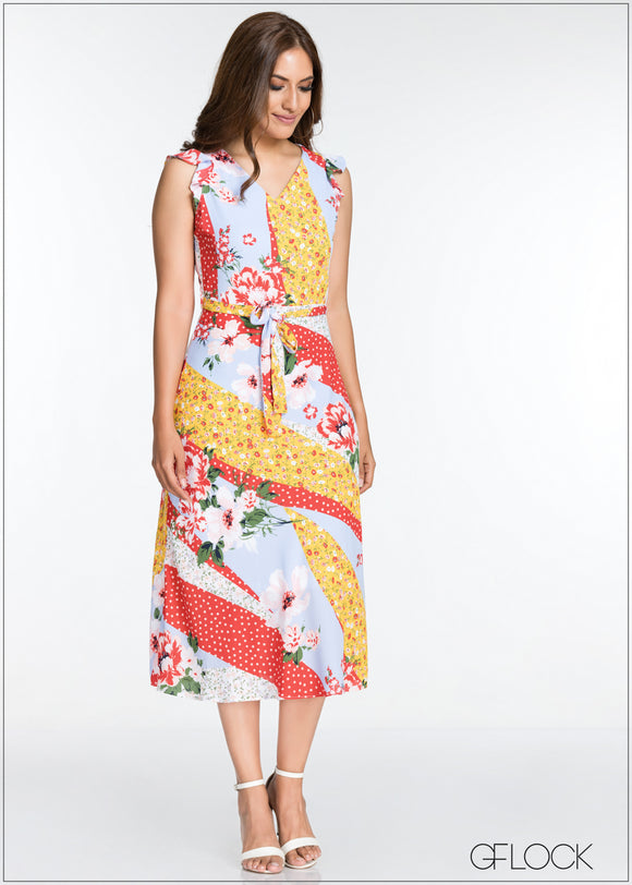 Printed Sleeveless Midi Dress - GFLOCK.LK