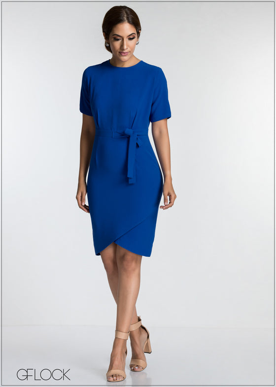 Front Wrap Detail Workwear Dress
