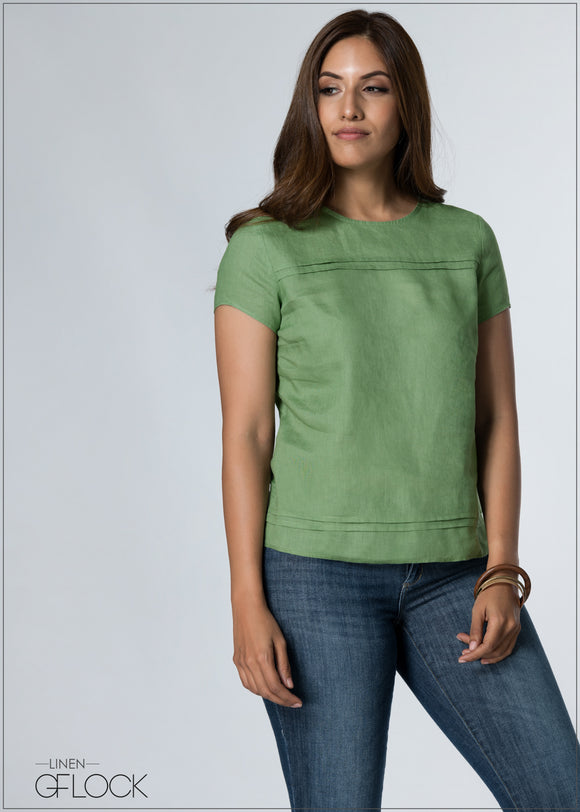 Pleat Detailed Linen Top