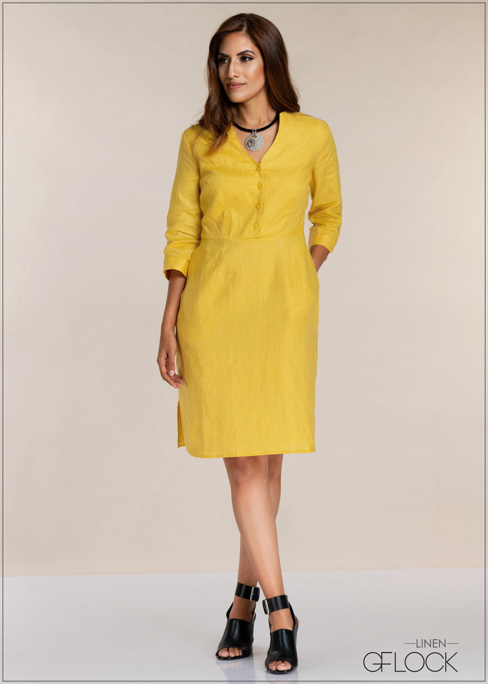 Front Opened Linen Dress