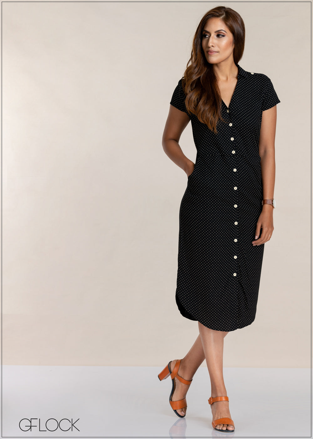 Pin Dot Pocket Detail Dress