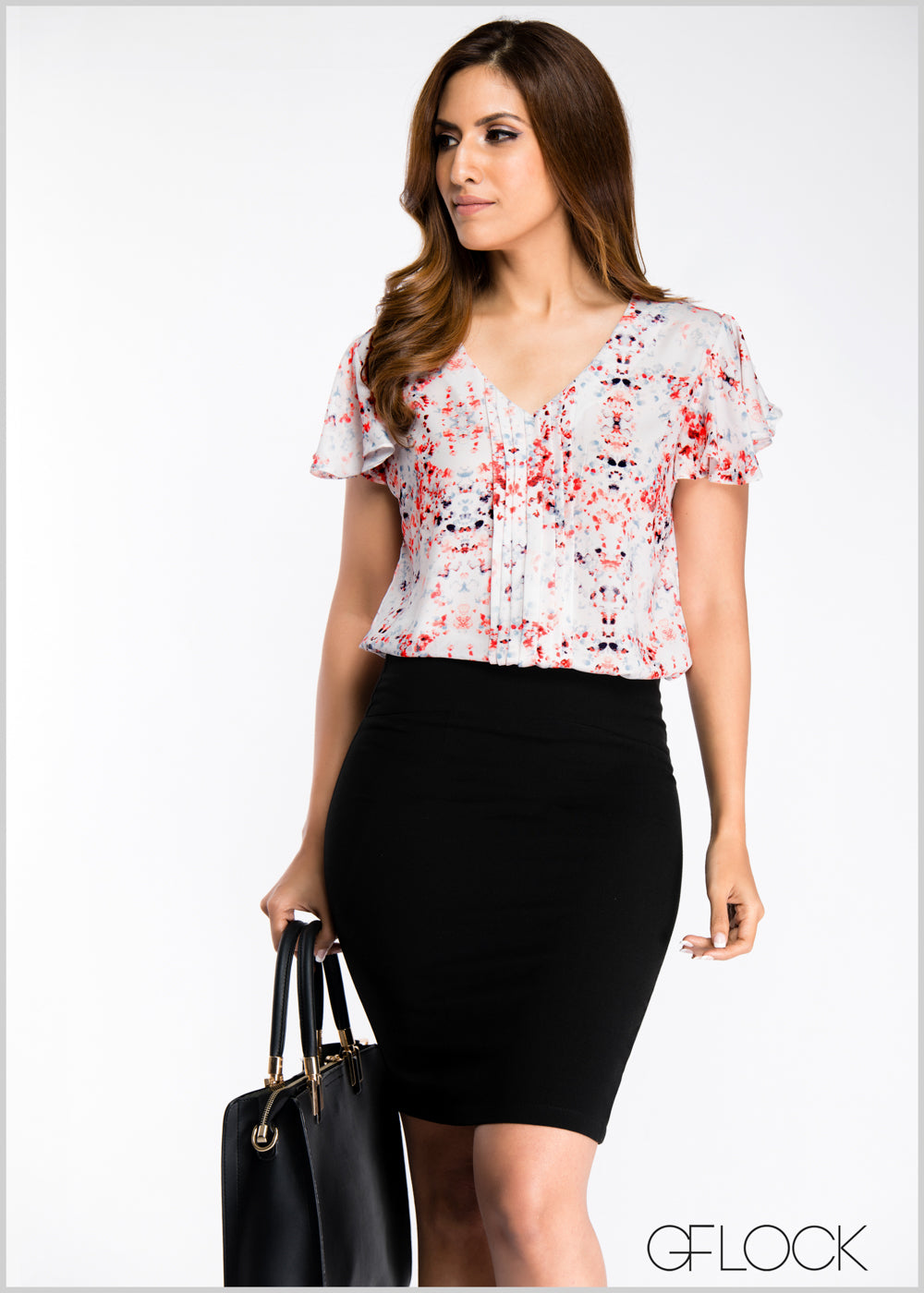 Pleated Frill Sleeve Top