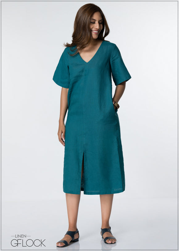 V Neck Linen Dress - GFLOCK.LK