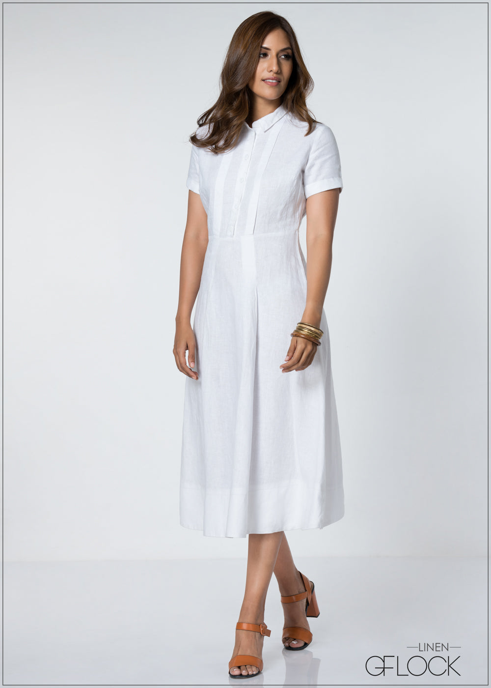 Short Sleeve Collar Up Maxi