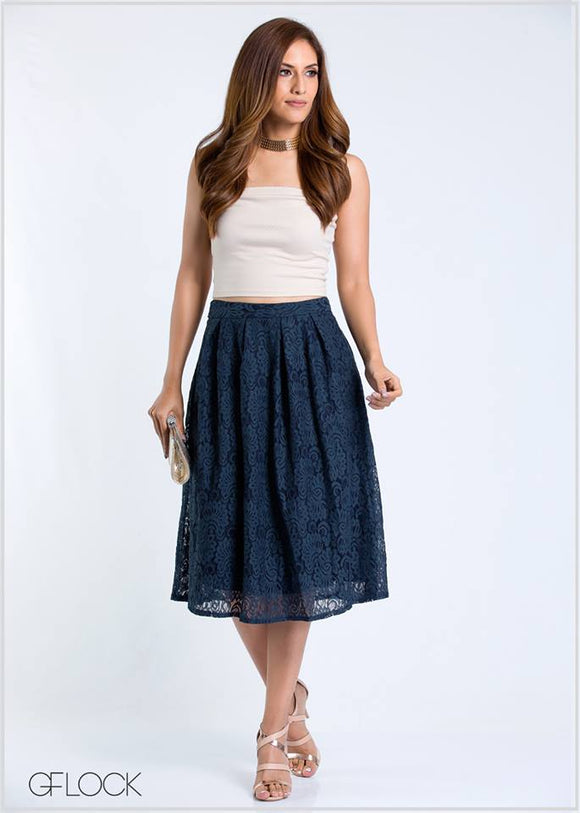 Lace Box Pleat Skirt
