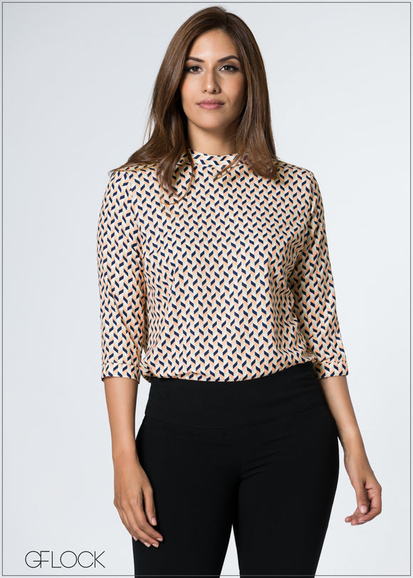 Chevron Printed Work Wear Top
