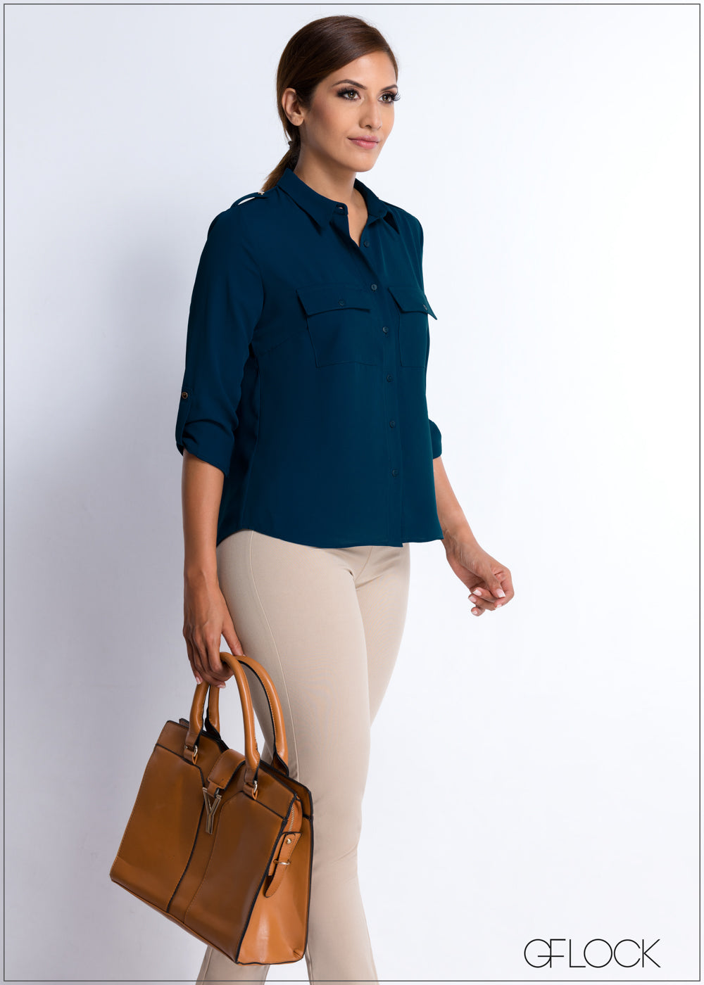 Double Pocket Basic Workwear Top