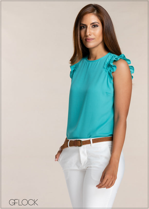 Ruffle Detail Sleeveless Top