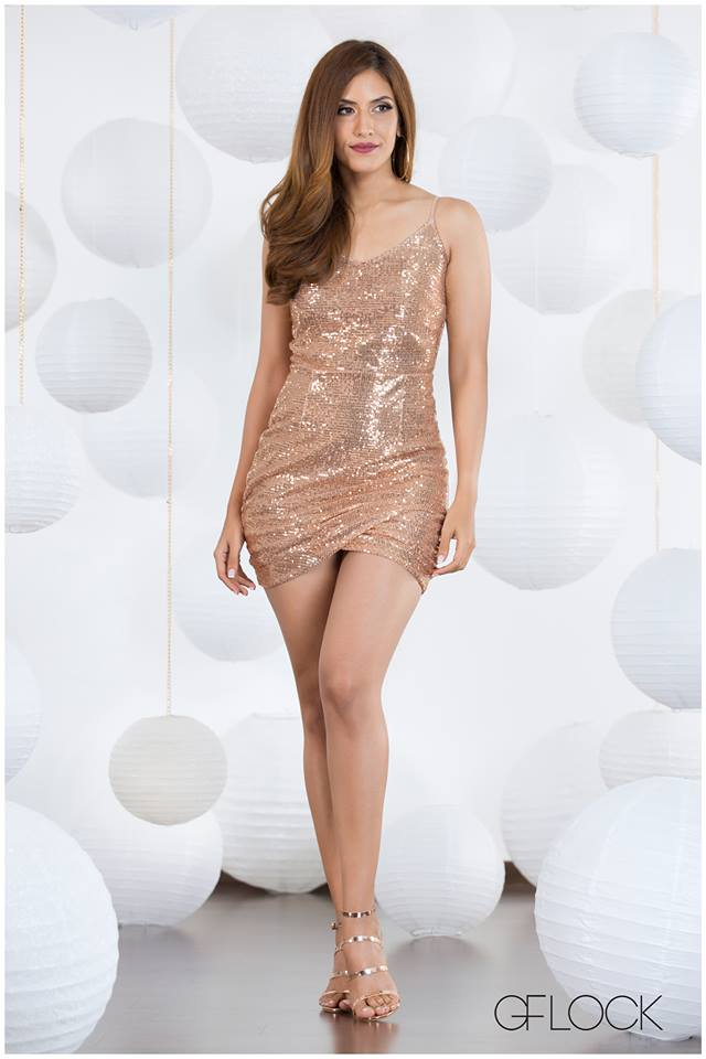 Sequin Overlapped Hem Dress