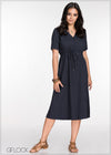 Front Button Detail Linen Dress