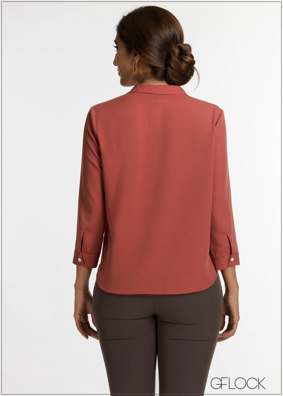 Center Pleat Collar Top