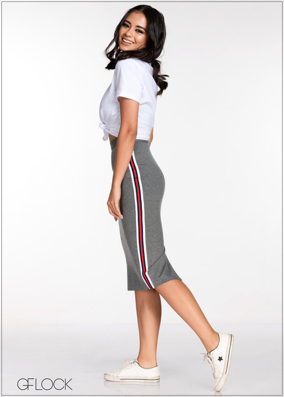 Pencil Skirt With Side Contrast Detail Skirt