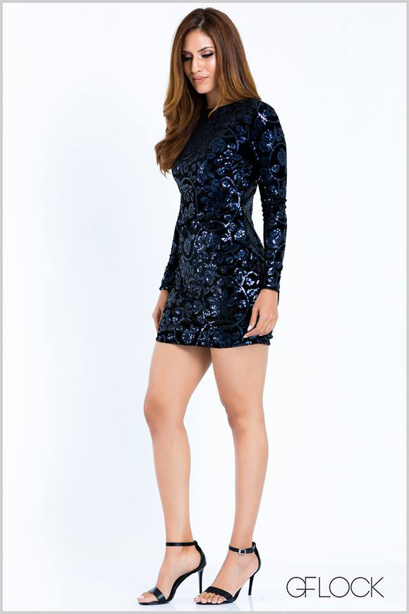 Sequin Velvet Bodycon Dres