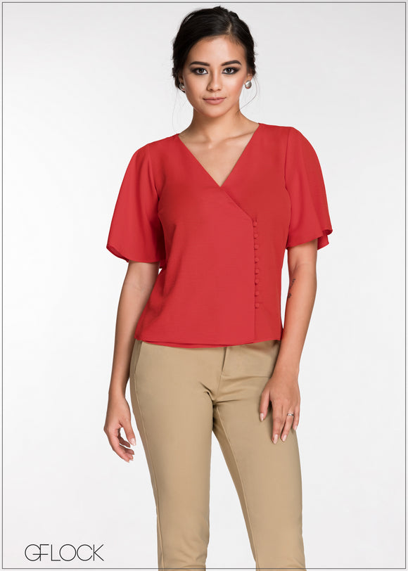 Flared Sleeve Workwear Top