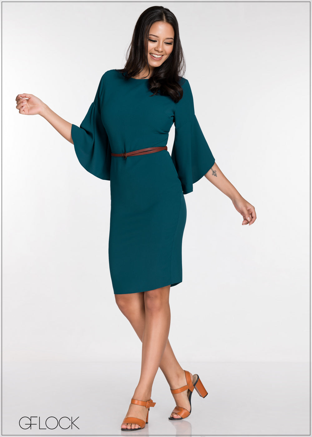 Flared Sleeve Bodycon Dress - GFLOCK.LK