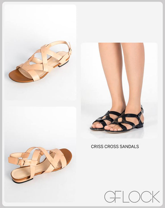 Faux Leather Criss Cross Sandals
