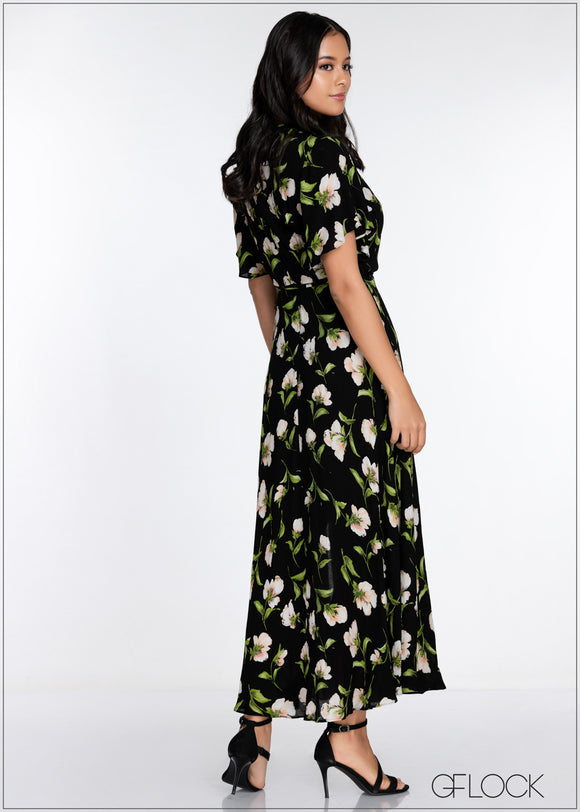 Flared Sleeve Maxi Dress