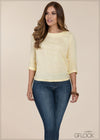 Mid Sleeve Linen Top - GFLOCK.LK
