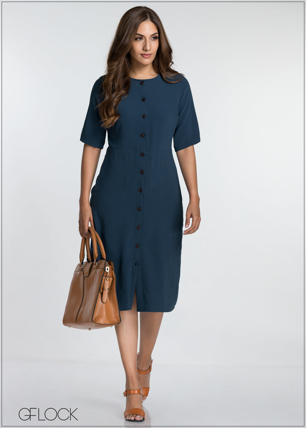 Front Button Detailed Workwear Dress
