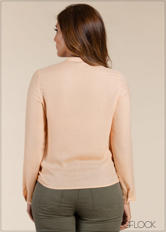 Chinese Collar Long Sleeve Top