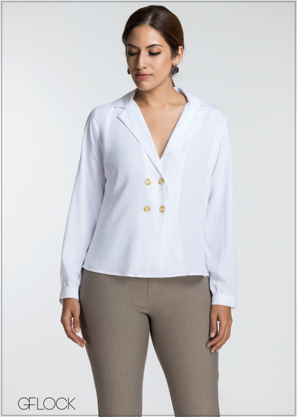 Double Button Lapel Collar Top