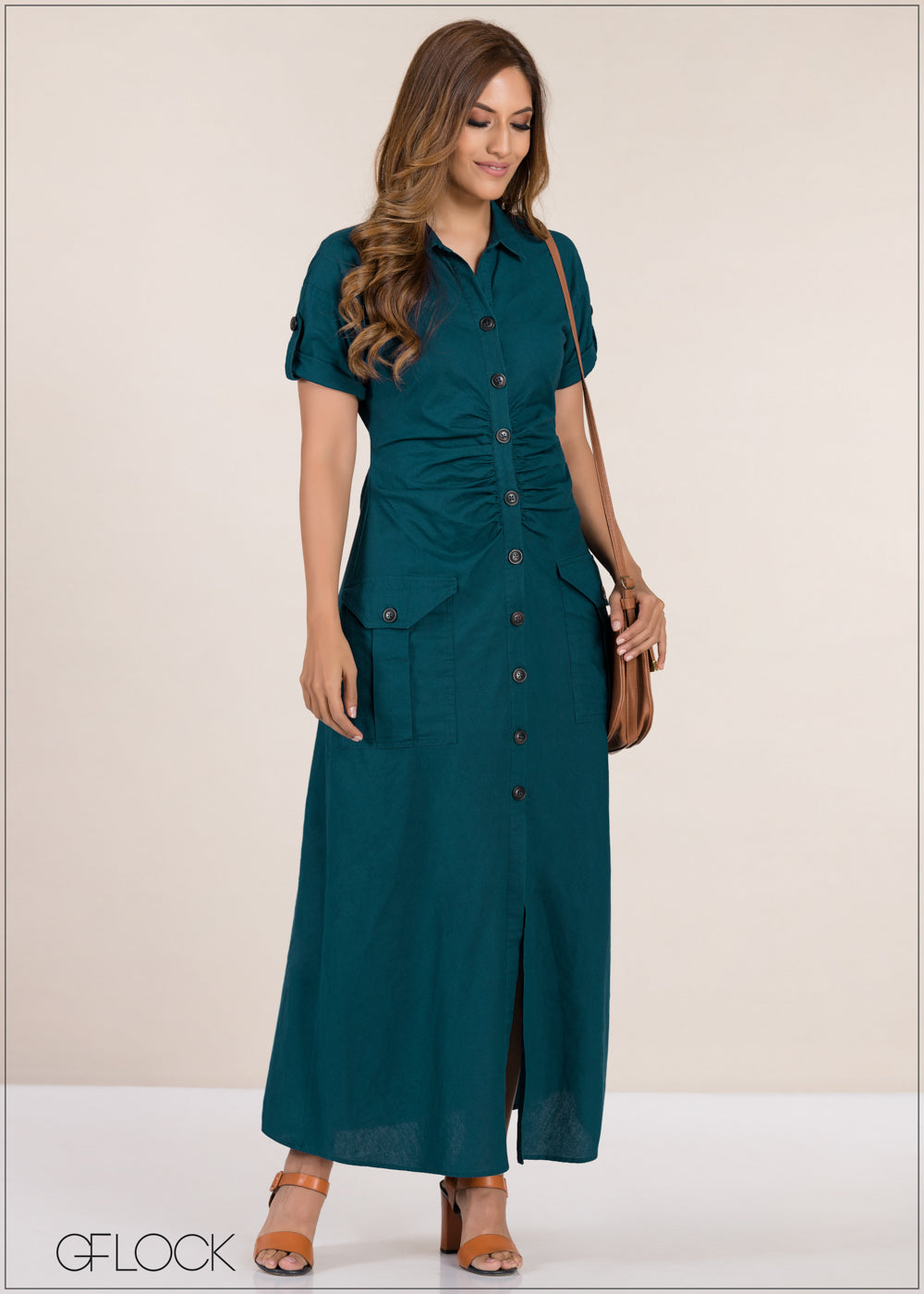 Button Placement Rouched Dress