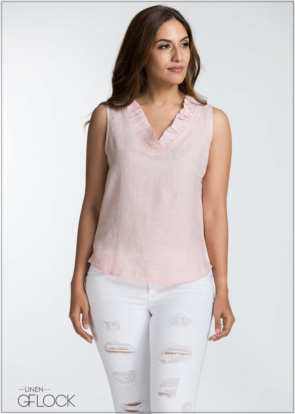 Frill Detailed Linen Top