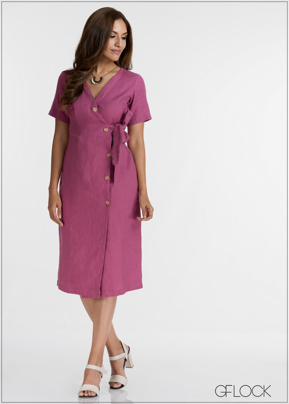 Side Buttoned Overlapped Dress