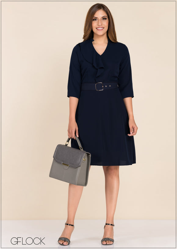 Frill Detail Workwear Dress - GFLOCK.LK