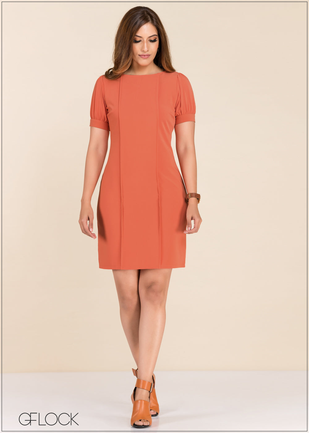 Puff Sleeve Sheath Dress - GFLOCK.LK