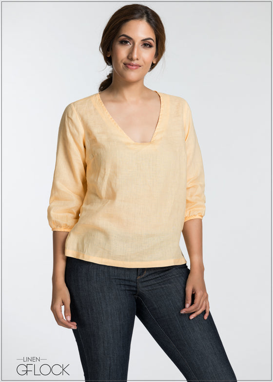 Puff Sleeve Linen Top - GFLOCK.LK