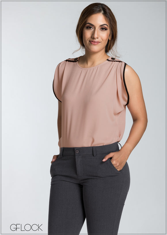 Contrast Detail Workwear Top